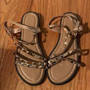 Forever 21 gold strappy studded sandals, size 7.5